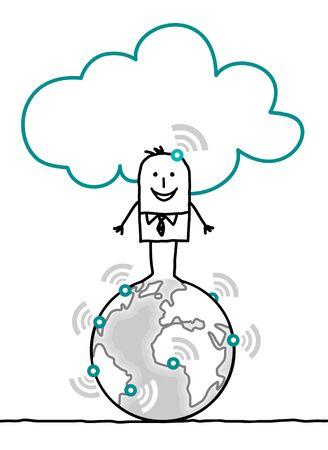 cartoon characters and cloud - world Stock Photo