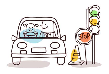 novice: cartoon characters and car - driving school Stock Photo