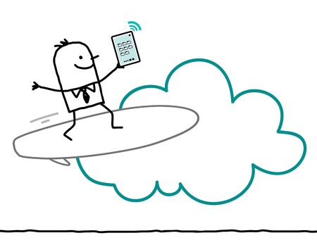 interactivity: cartoon characters and cloud - surf Stock Photo