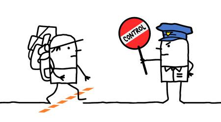 demarcation: cartoon characters - police control - borderland Stock Photo