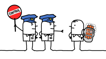 cartoon bomb: cartoon characters - police control - bomb