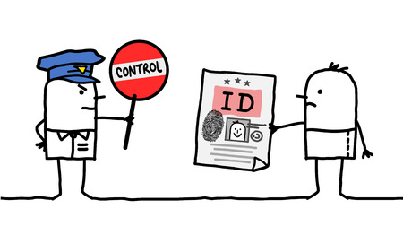 control fraud: cartoon characters - police control - identity