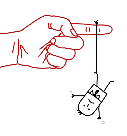contempt: gran mano con personaje de dibujos animados - el acoso