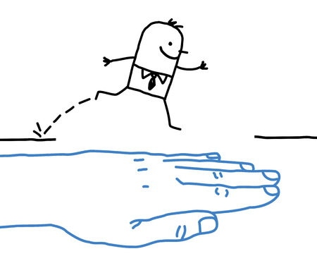 big hand with cartoon character - help Banque d'images