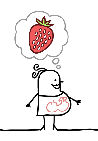 cartoon pregnant woman thinking about strawberry