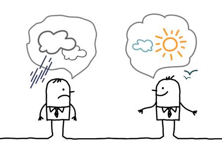optimistic: cartoon businessmen - optimistic and pessimistic