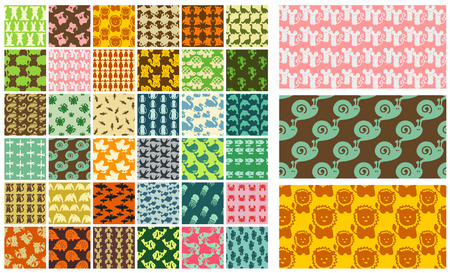 leopard gecko: 36 vector seamless patterns - hand drawn animals Illustration