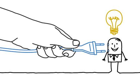 plug in: Big hand and  businessman - plug in
