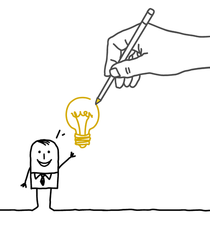 Tekenen grote hand en zakenman - nieuw idee! Stockfoto