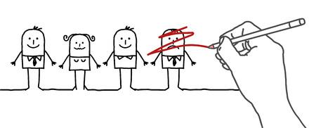 arbitrario: Dibujo gran mano y los personajes - eliminación