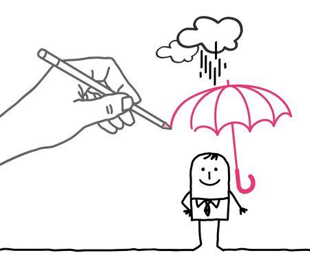 draftsman: Drawing big hand and  character - rain protection