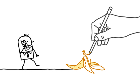 peel: Drawing big hand and  businessman - banana peel