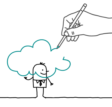daydream: Drawing big hand and  businessman - in the Cloud Stock Photo