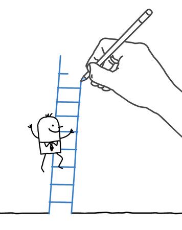 draftsman: Drawing big hand and businessman - climbing up