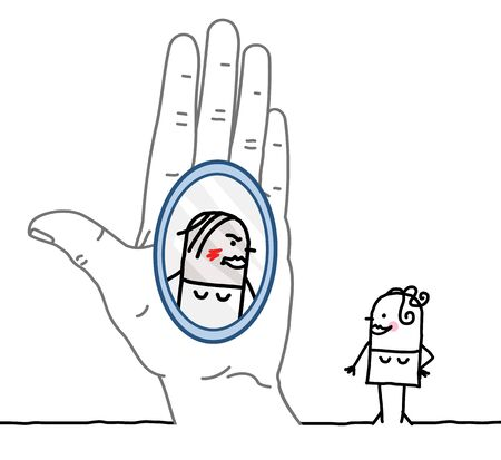 confess: Big hand and character - reflection in the mirror