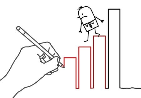 draftsman: Drawing big hand and  businessman - climbing down