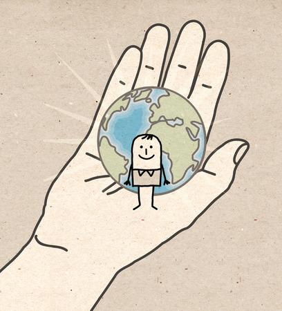 trait: Big hand - Earth and human Stock Photo