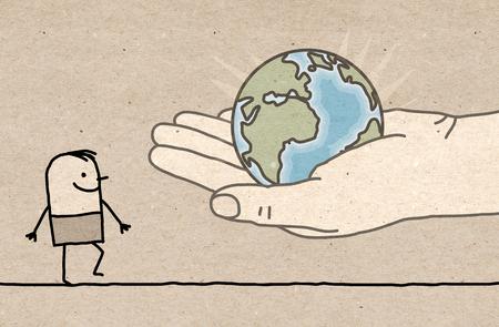origin of man: Big hand - Earth and human Stock Photo