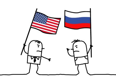 political party: Cartoon people - American and Russian
