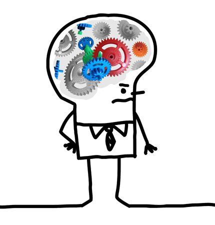 meninges: Cartoon Big Brain Man - gear and concept Stock Photo