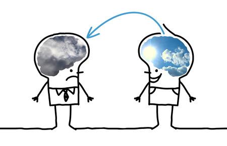 漫画大きな脳男 - 楽観的と抑うつ 写真素材