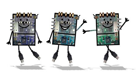 Cartoon robots - Grappige elektronica Stockfoto