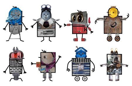 Cartoon robots - Acht tekens