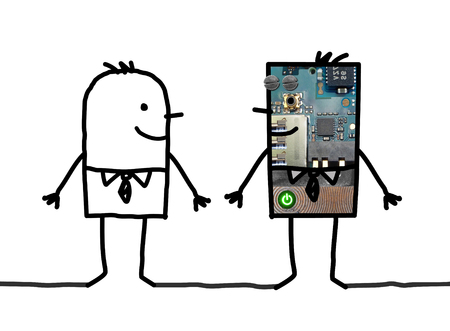 clone: Cartoon robots - Businessman and his clone