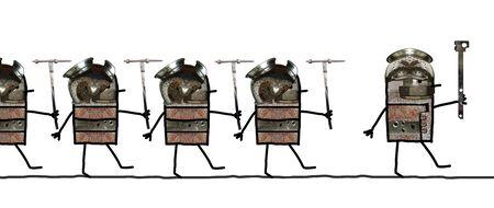 Cartoon collage - soldaten lijn Stockfoto