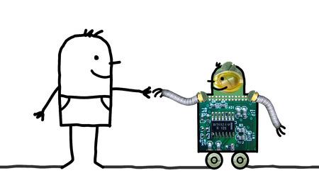 Cartoon Roboter - Hilfe auf Rädern