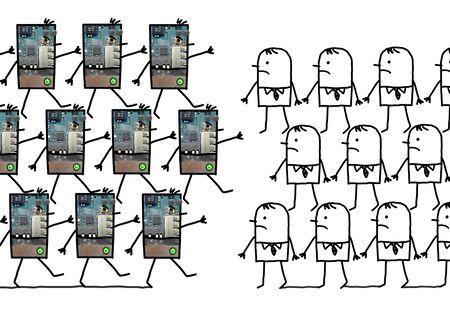 Cartoon robots - lopen tegen mensen
