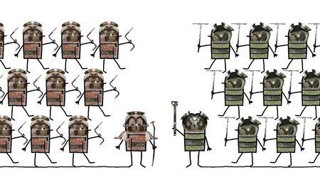 Beeldverhaalcollage - Militairen en slag