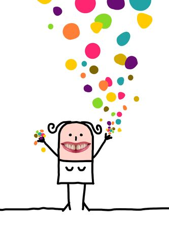 Cartoon people - Happy woman with confetti Stock Photo