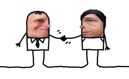 Cartoon people - different men handshake