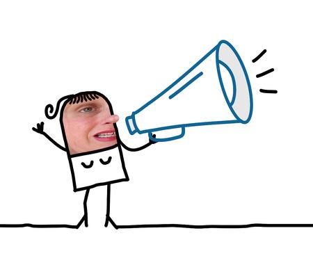 loudhailer: Cartoon people - woman with loudhailer Stock Photo