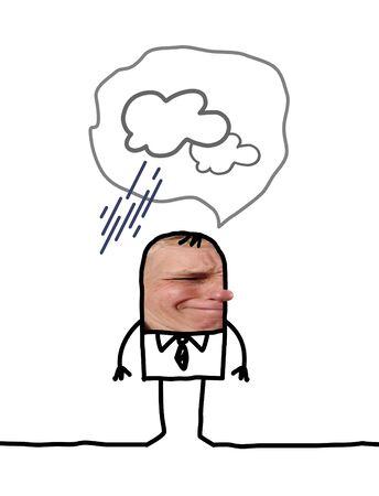 Cartoon people - Pessimistic man