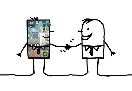 Cartoon people - businessman and robot handshake Stock Photo
