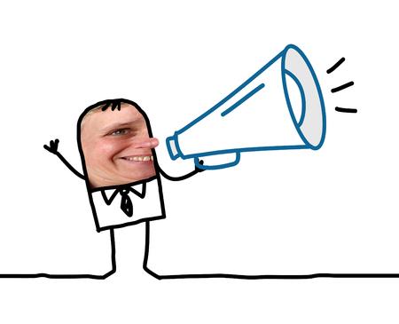 loudhailer: Cartoon people - Businessman with loudhailer