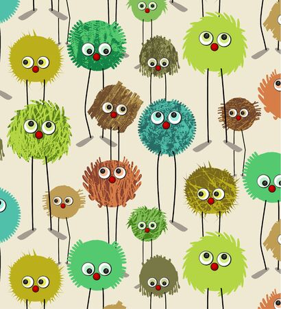seamless pattern - textured characters