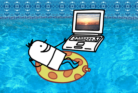 vacation with laptop: Cartoon character - Man with laptop in a swimming pool Stock Photo