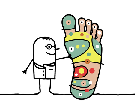 Cartoon characters - doctor with big foot and and reflexology