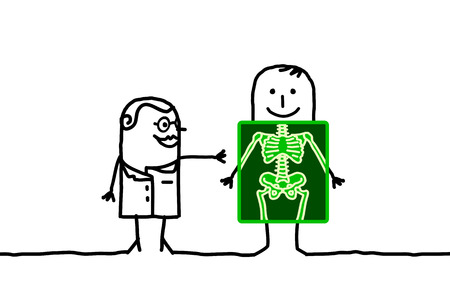 Cartoon characters - radiologist with patient