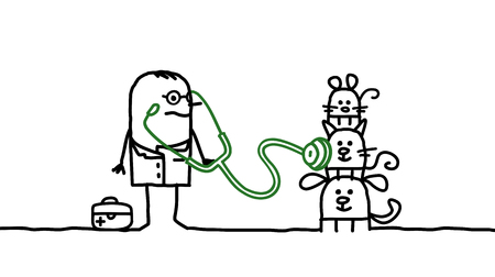 auscultation: Cartoon characters - veterinary with pets Stock Photo