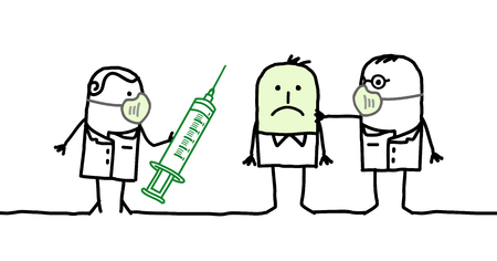 contagious: Cartoon characters - doctors with contagious man