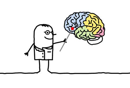 Cartoon characters - neurologist with brain