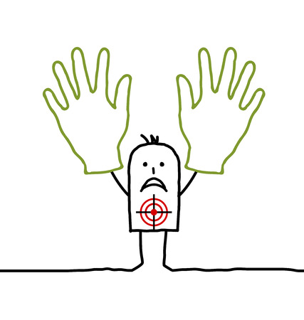 threatened: Cartoon characters - man with two hands up Stock Photo