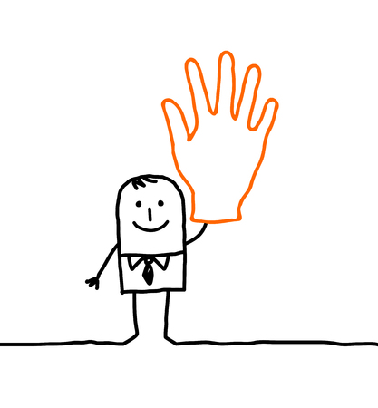 Cartoon characters - businessman with hand up