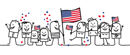 us independance: Cartoon people - national american day