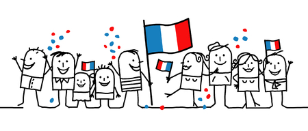 Cartoon people - national french day