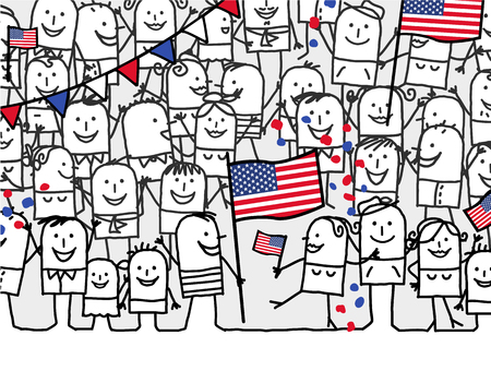 us independance: Cartoon crowd - national american day